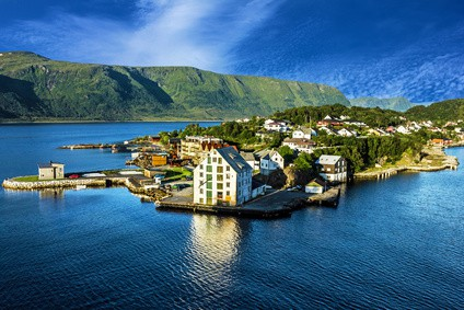 Alesund - sea view on island in Norwegian fjords, Norway.