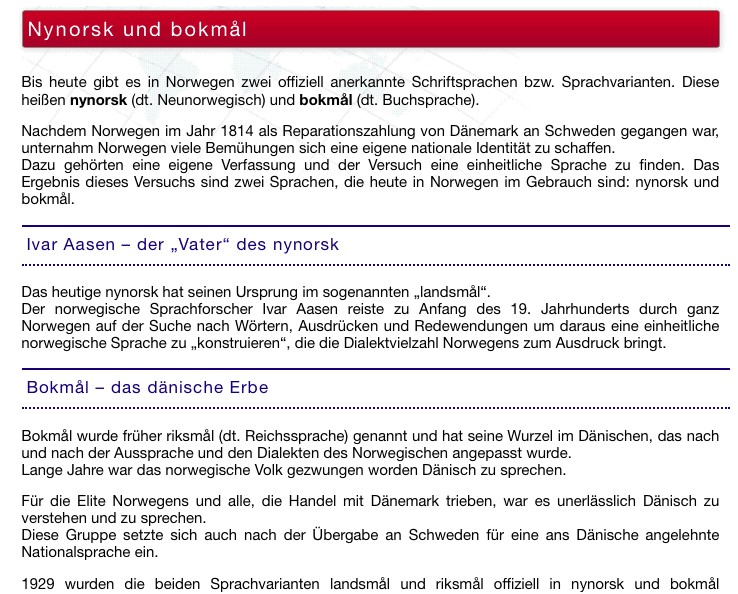 Nynorsk Bokmal Sprachenlernen24